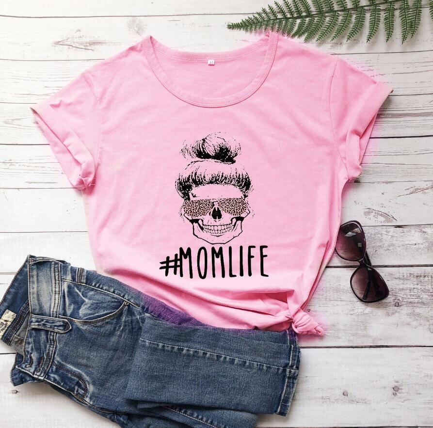 Camiseta de algodón 100% puro # Mom Life con estampado de letras para Mujer, Camiseta holgada de manga corta con cuello redondo, camisetas de verano 2020 para Mujer