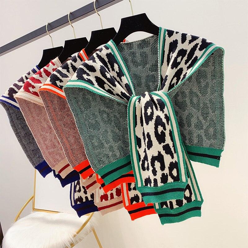 2019 nuevo Otoño e Invierno leopardo Color bloque tejido chal moda bufanda todo el cuello para mujer ropa