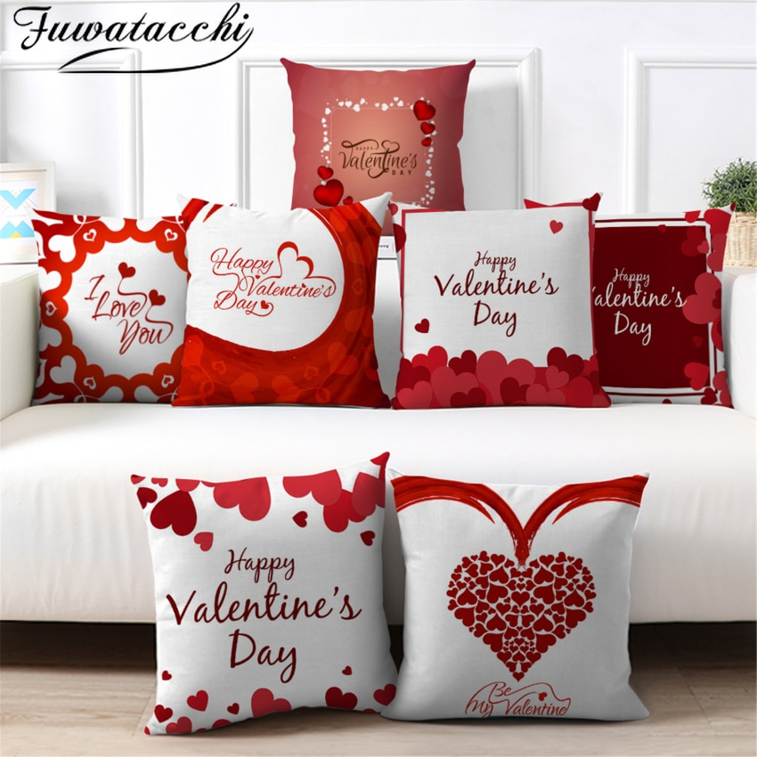 red rose flower heart polyester decorative throw pillowcase i love you letter cushions cover for sofa car valentine s day gift Fuwatacchi Valentine's Day Pillow Case Home Decoration Red Heart Throw Pillowcase for Sofa Bed Creative Decorative Cushion Cover