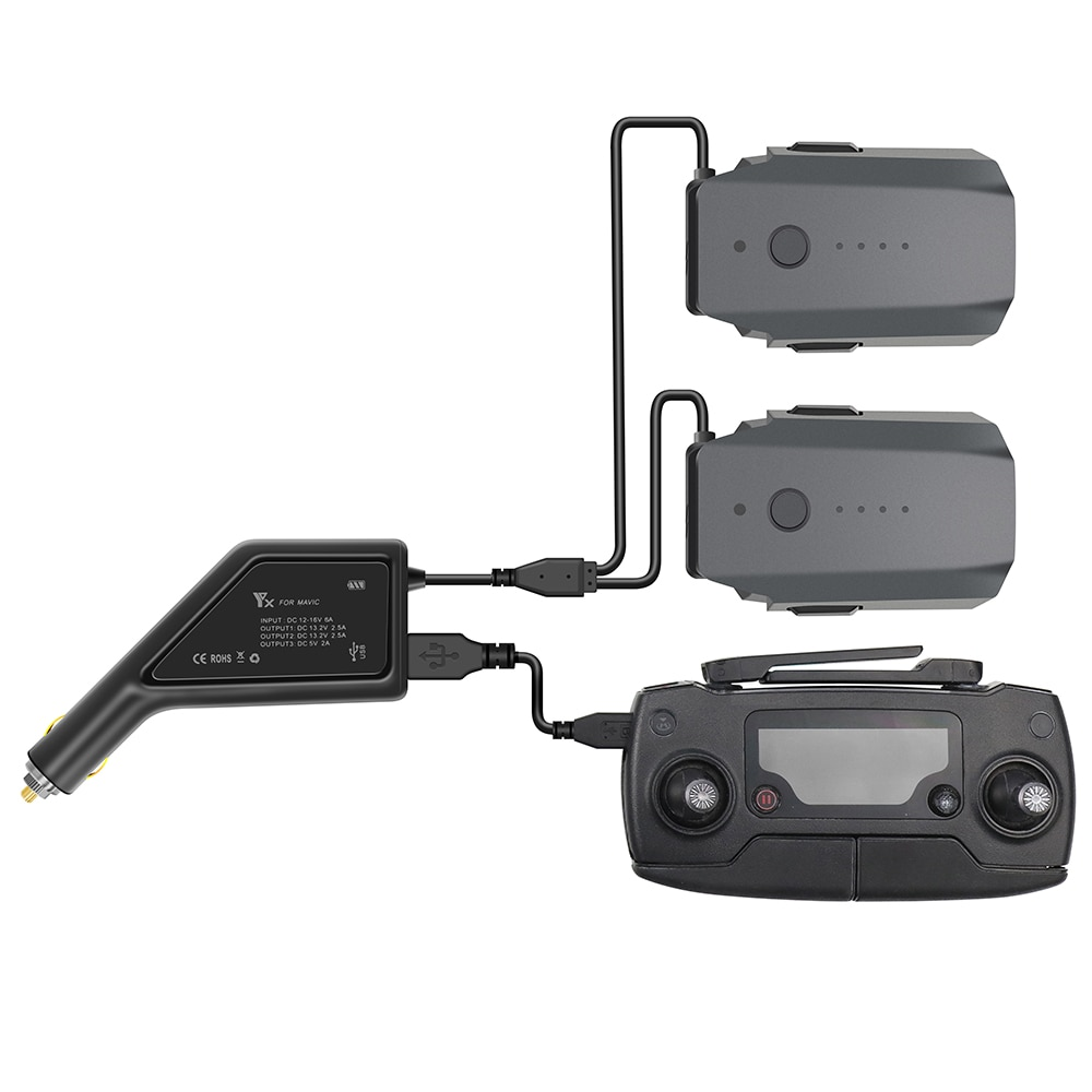 Outdoor Dual-Batterie Auto Ladegerät für DJI Mavic Pro mit USB Port Fernbedienung Teile Schnelle Aufladen Intelligente