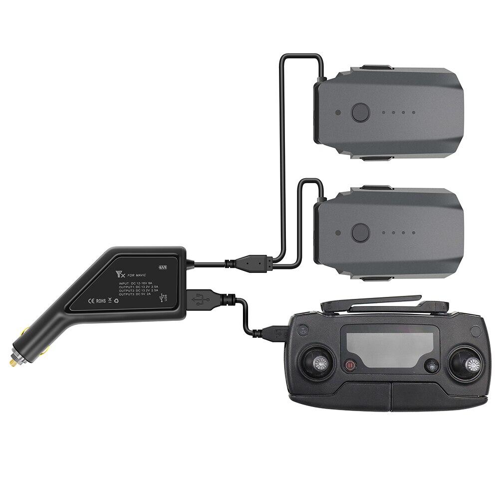 Outdoor Dual-Batterij Autolader Voor Dji Mavic Pro Met Usb-poort Afstandsbediening Onderdelen Snelle Opladen Intelligente