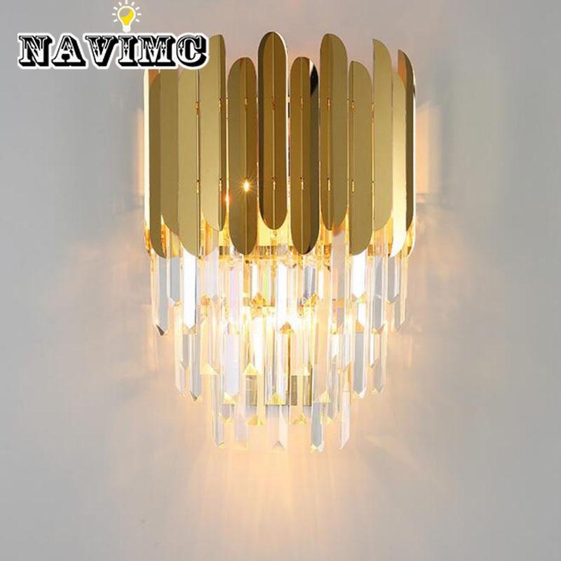 Modern Gold Crystal Beside Wall Light Scone LED Lamp Luxury Lights Fixtures for Bedroom Living Room Lightiing