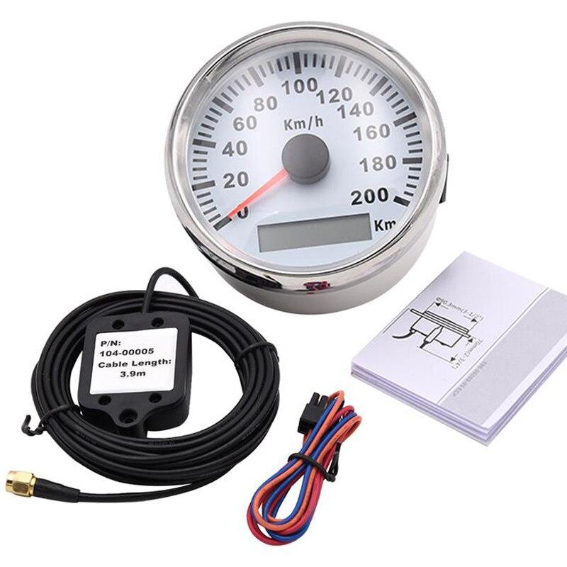 Velocímetro Digital GPS de 85mm para coche, indicador de velocidad LED rojo de 200 km/h para bmw e46 Honda, motocicleta, coche, barco IP67, tacómetro impermeable