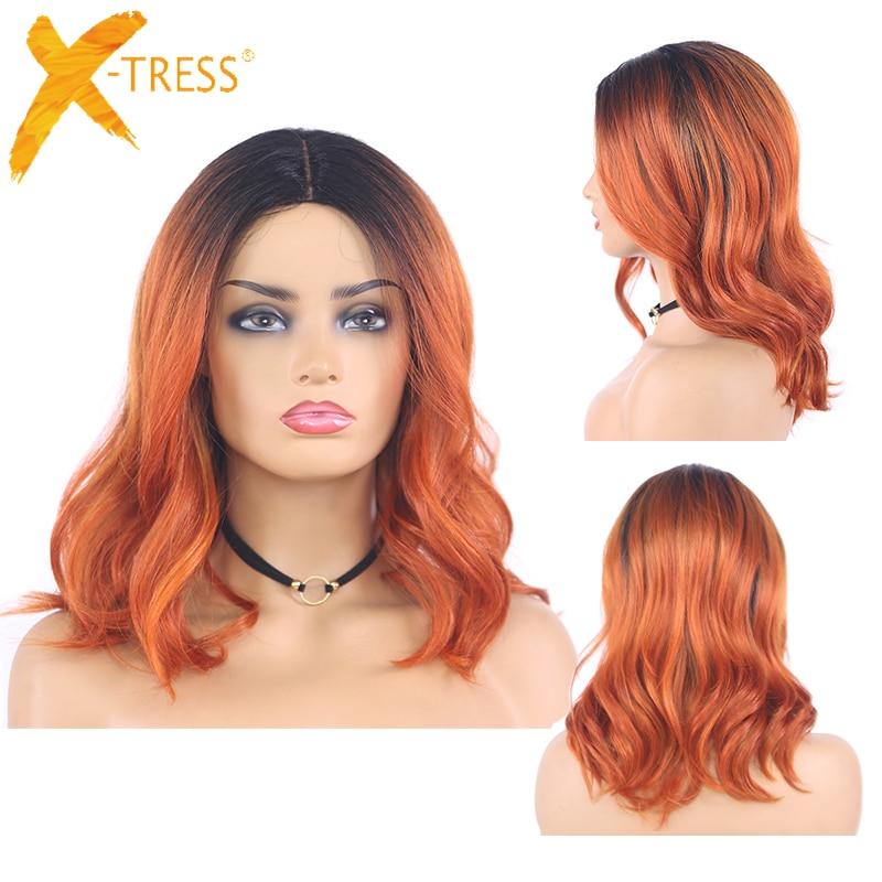 Ombre gengibre colorido onda natural perucas sintéticas do laço cinza marrom laranja X-TRESS ombro comprimento bob cabelo perucas para preto
