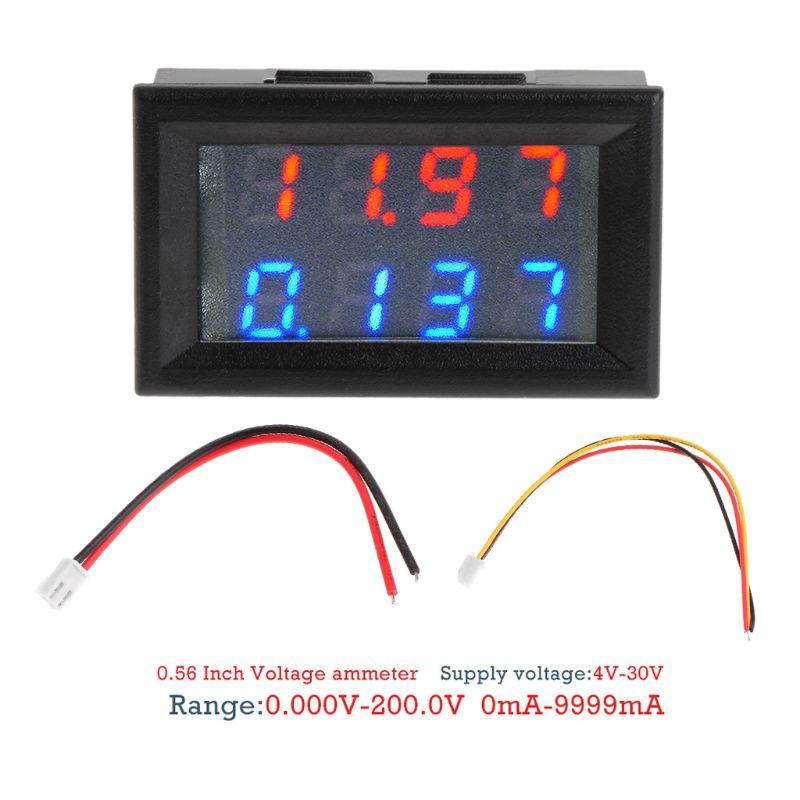 """Voltímetro Digital de 0,28 """"DC 200V 10A amperímetro de 4 dígitos 5 cables medidor de corriente de voltaje"""