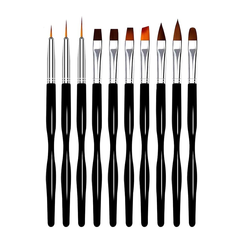 10 unids/lote Gel UV para arte de uñas de la pluma negro de Arte de uñas fototerapia pluma Multi-función de pincel para uñas de Gel UV pluma de dibujo