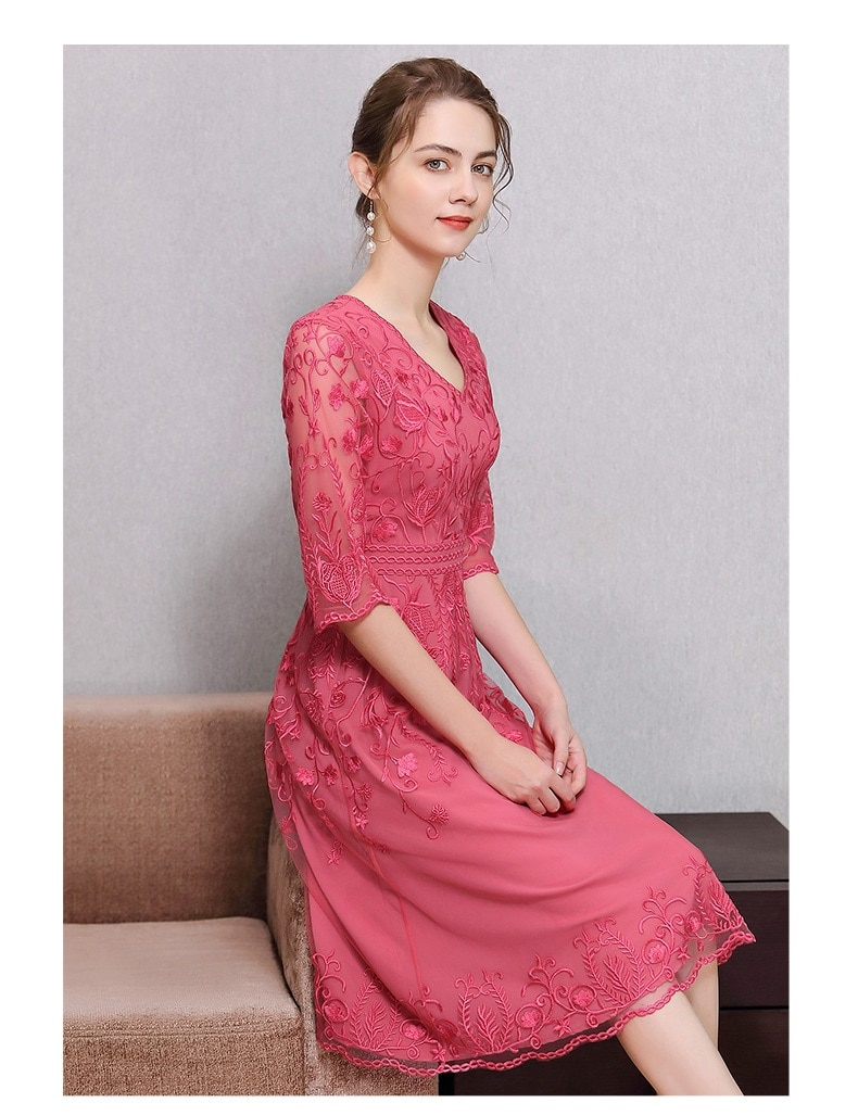 High Quality Brand Women's Dress 2021 Summer Bride Party Women V-Neck Allover Appliques Embroidery Slim Fit A-Line Dress Luxury