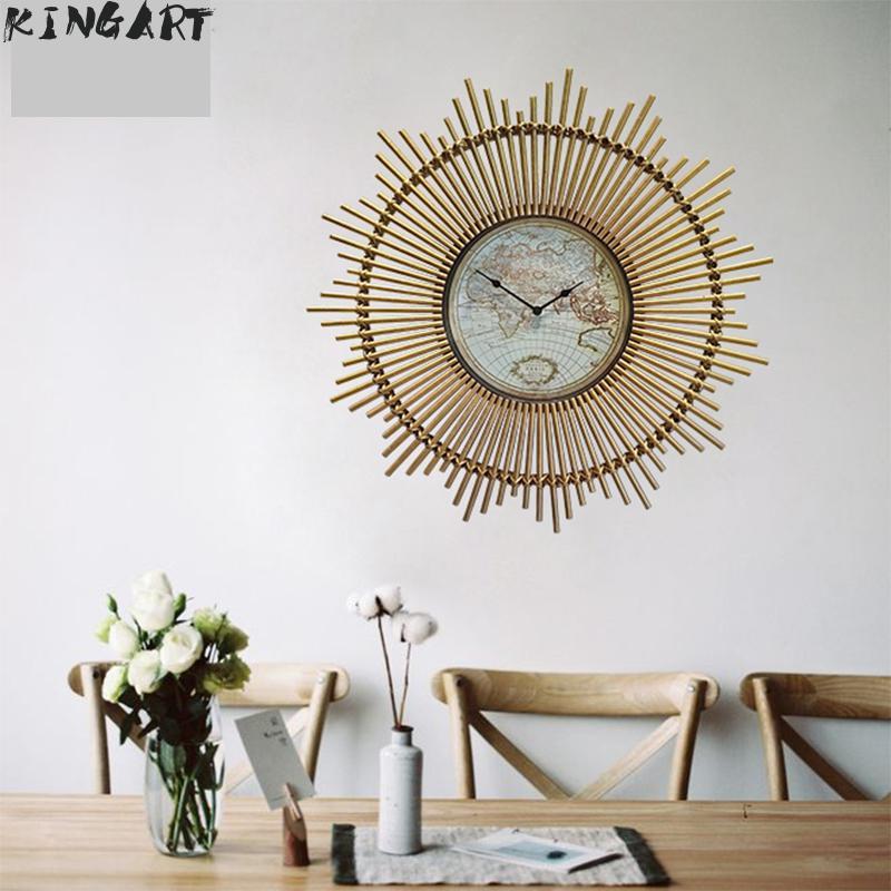 Reloj de pared Retro creativo para el hogar, reloj Vintage, reloj de bambú, marco de madera, reloj antiguo, sala de estar, reloj de pared para dormitorio MD