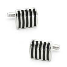 Enamel Design Square Stripes Cufflinks For Men Quality Copper Material Black Color Cuff Links Wholes
