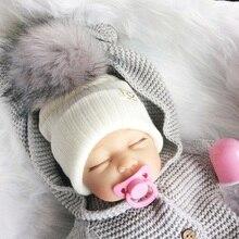 Gorro de punto con pompón Artificial para bebé, gorros con pompón, accesorios de fotografía para recién nacido, Invierno