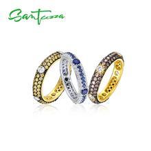 SANTUZZA argent anneaux pour femmes couleur or multicolore cubique zircone éternité anneaux pur 925 en argent Sterling bijoux de mode