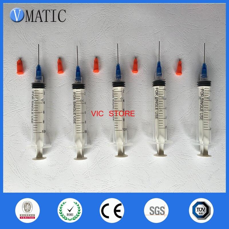 Envío Gratis, agujas de dispensación no esterilizadas, punta de aguja para jeringa de 22G, 1 pulgada, 5 Sets con jeringa de plástico de 10cc/ml con tapón