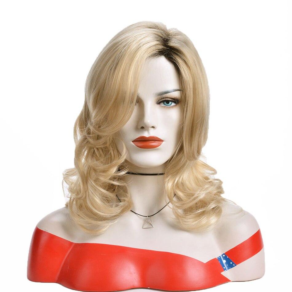 Alizing ombre schwarz blonde synthetische haar perücke lange wasser wellig verworrene lockige perücke hohe temperatur faser haar frau cosplay perücke 9450