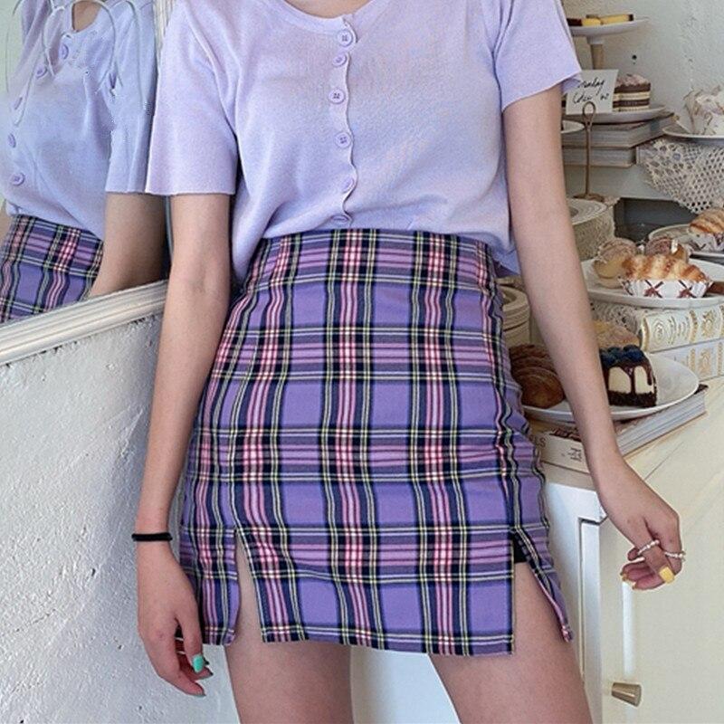 Coreano de falda a cuadros 2020 estudiantes shorts Chic falda de moda Sexy Mini faldas primavera verano Mujer Faldas