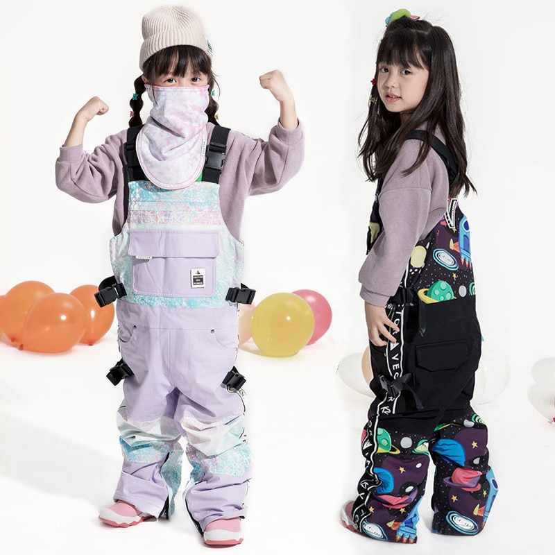 2021 Waterproof Girls Ski Pants Sports Kids Snow Overalls Winter Children Jumpsuits Windproof One Piece Skiing Suits Clothes