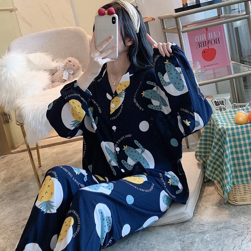 Вискозное-штапельное-волокно-пижамы-для-женщин-Сезон-весна-осень-Тонкий-тканый-хлопчатобумажный-женский-Шелковый-костюм-для-дома-в-японс