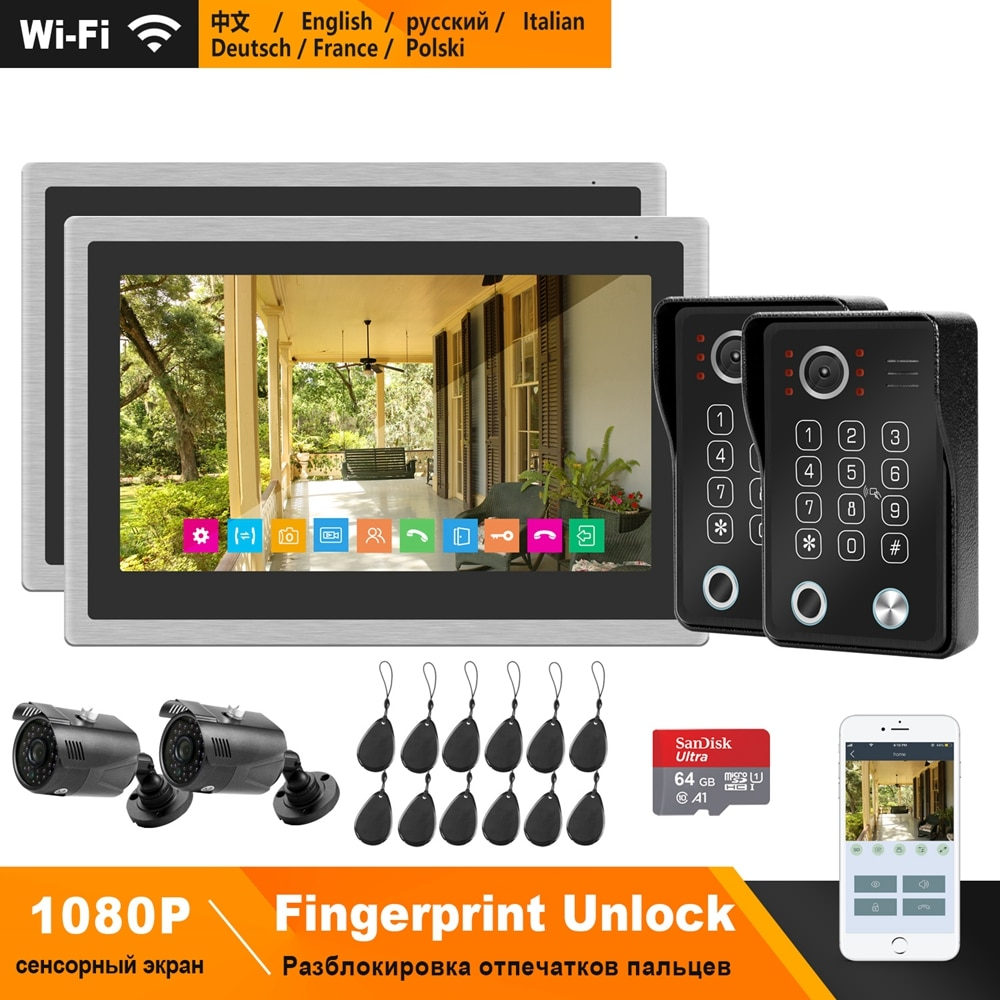 HomeFong WiFi Video Kit de sistema de portero automático IP del teléfono Video de la puerta de huellas dactilares de desbloqueo timbre 1080P cámara 10 pulgadas Monitor de pantalla táctil
