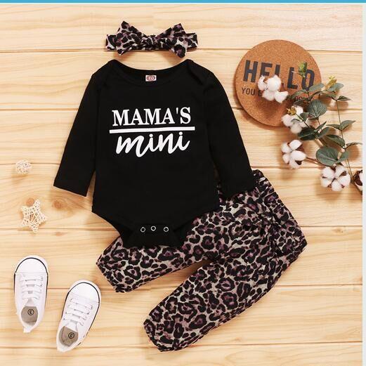 2020 nova moda 0-18m bebê recém-nascido unissex conjunto de roupas 3 peças tipografia macacão leopardo calças bandana outono roupas