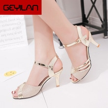 Women Sandals 2020 Summer Shoes Woman Dress Shoes Bling Weddging Shoes Silver High Heels Pumps Ladie