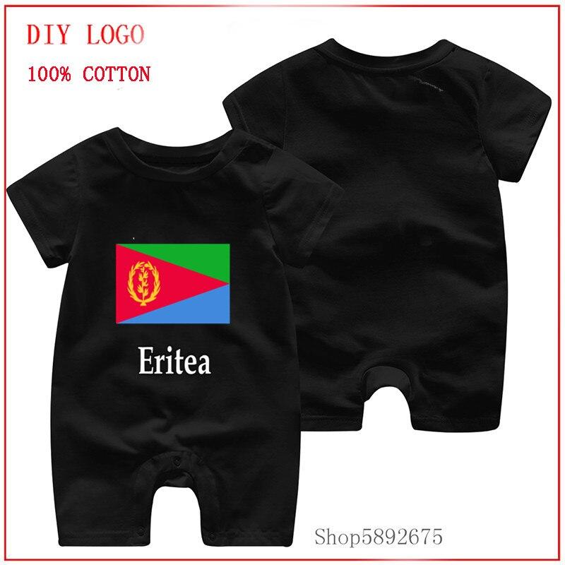 Súper Bandera de Eritrea y diseño de nombre 100% mono de manga corta de algodón puro para niña y niño, ropa de bebé de una pieza de nuevo estilo