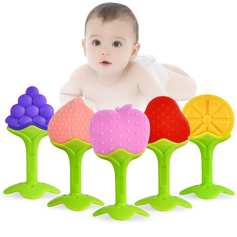 Детский силиконовый Прорезыватель для зубов для новорожденных малышей без бисфенола А оранжевое кольцо для зубов жевательные игрушки пода...