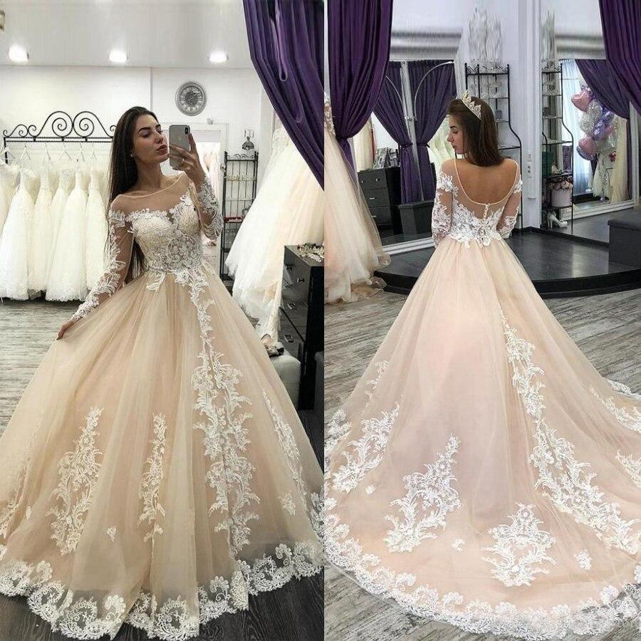 Champagne Sheer Scoop Applique Lace Crystal vestidos de novia de manga larga...
