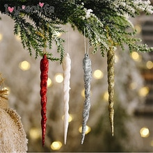 10 sztuk/partia boże narodzenie symulacja fałszywy sopel Xmas Tree wiszące Ornament Winter Party boże narodzenie nowy rok materiały dekoracyjne 13cm