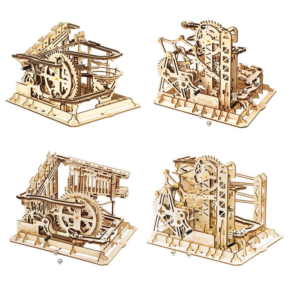 Robotime ROKR Blocks Marble Race Run Maze Balls Track DIY 3D Wooden Puzzle Coaster Model Building Ki