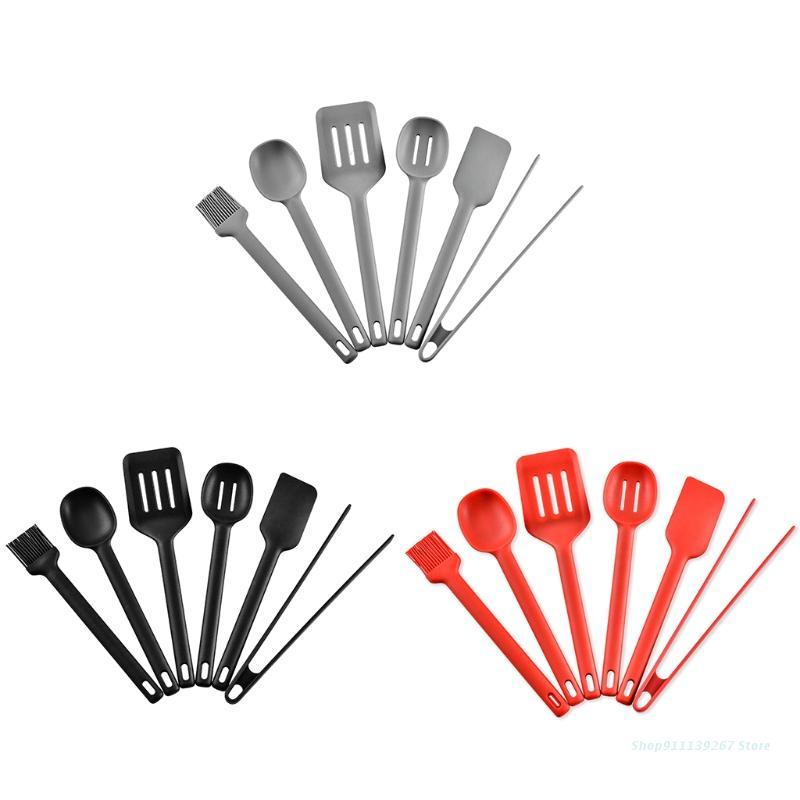 C5AD مجموعة من 6 أدوات المطبخ مجموعة أدوات المطبخ غير لاصقة الطبخ الخبز أداة مادة سيليكون أواني 3 ألوان للاختيار