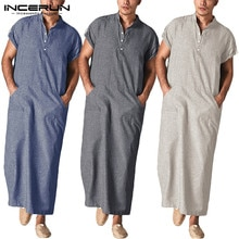 INCERUN hommes caftan islamique arabe musulman vêtements col montant manches courtes poches Robes rétro moyen-orient solide hommes Jubba Thobe