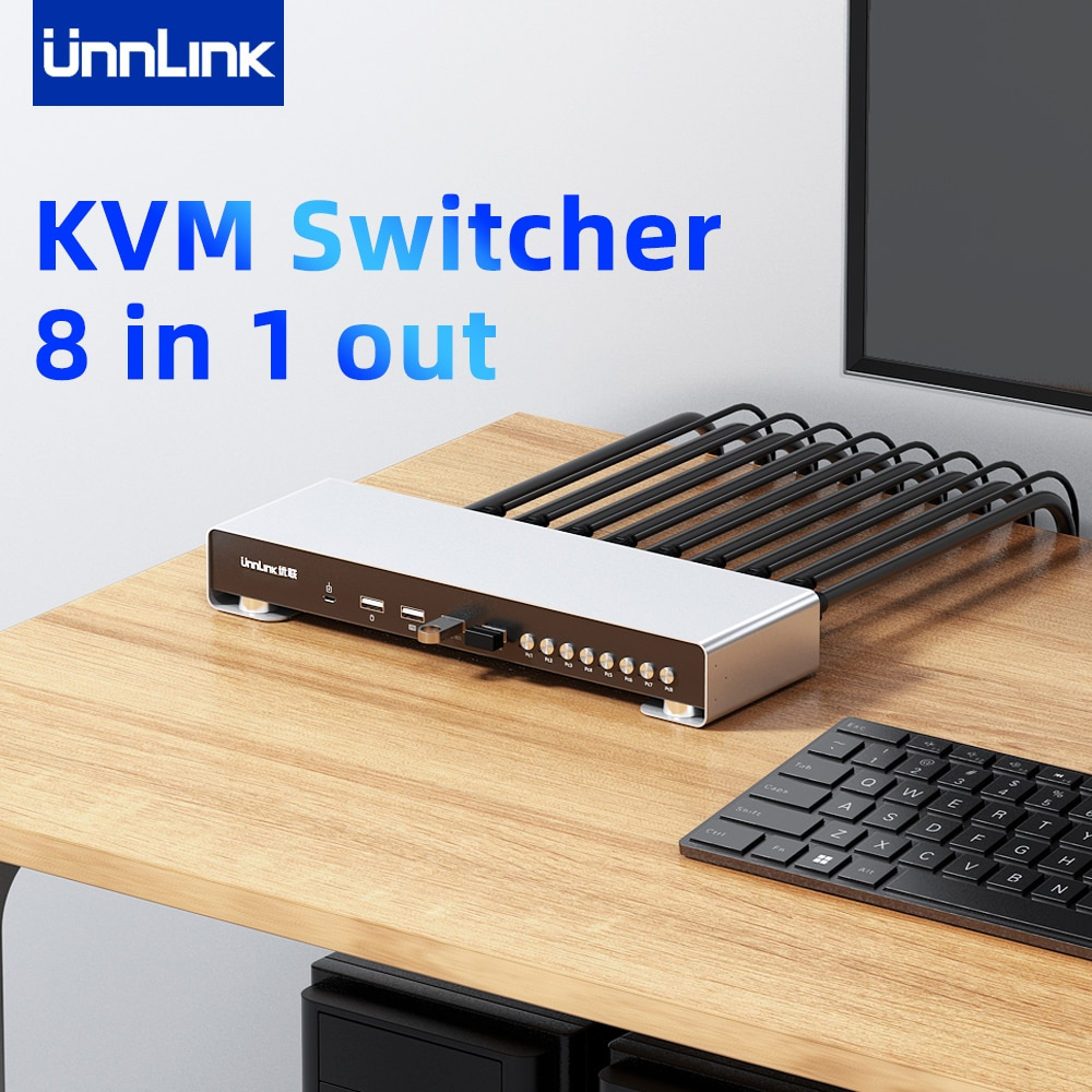 Unnlink HDMI KVM Switch 4K 30Hz Switcher 8 Host Share 1 Monitor 4 USB Mouse Keyboard Pinter with Extender