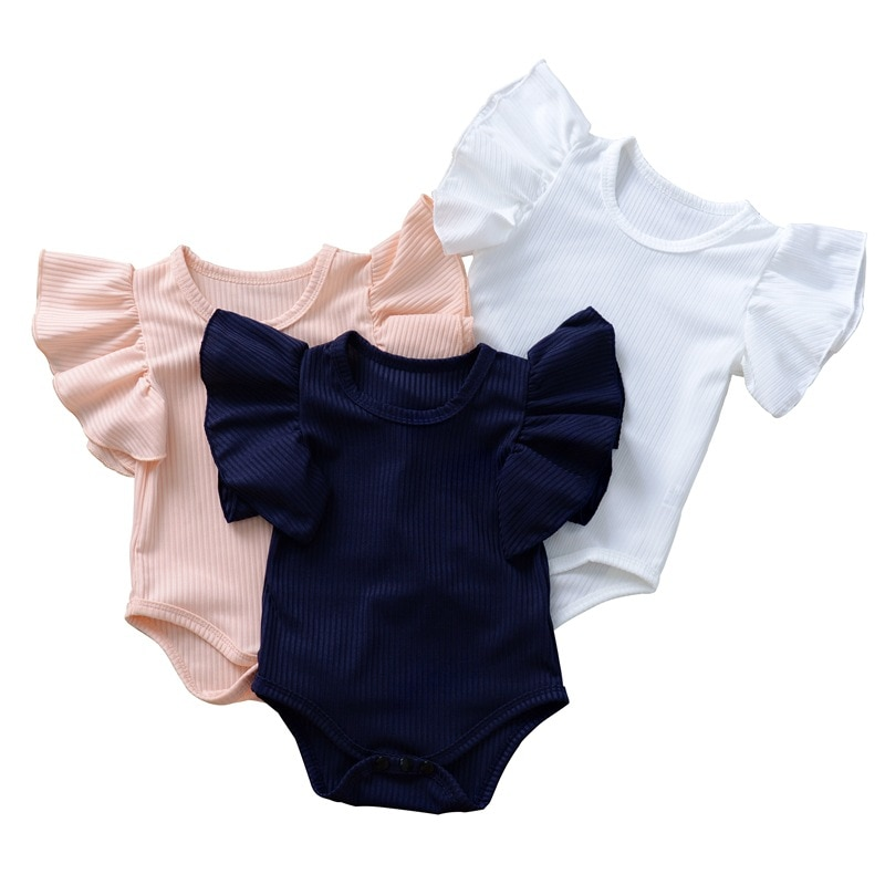 Baby one-piece Romper large lace sleeves girls clothes in Europe and America triangle wrap fart children's Romper faux feather and lace detail sleep romper