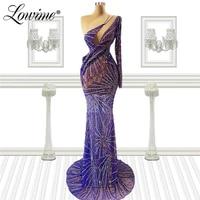 dubai one shoulder purple beading crystals evening dresses 2021 mermaid women party wear gowns prom dress robe de soiree