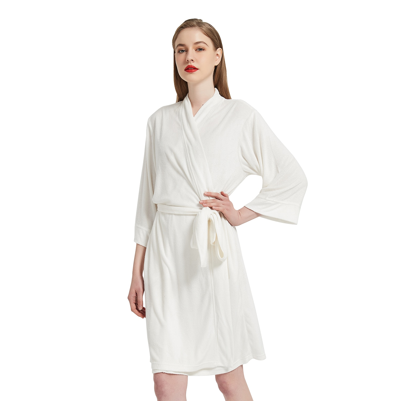 الأبيض المرأة الصيف منشفة كيمونو روب استحمام وصيفه الشرف Robes فام مثير الهراء Bathrobe روب للنوم العروس الزفاف Peignoir
