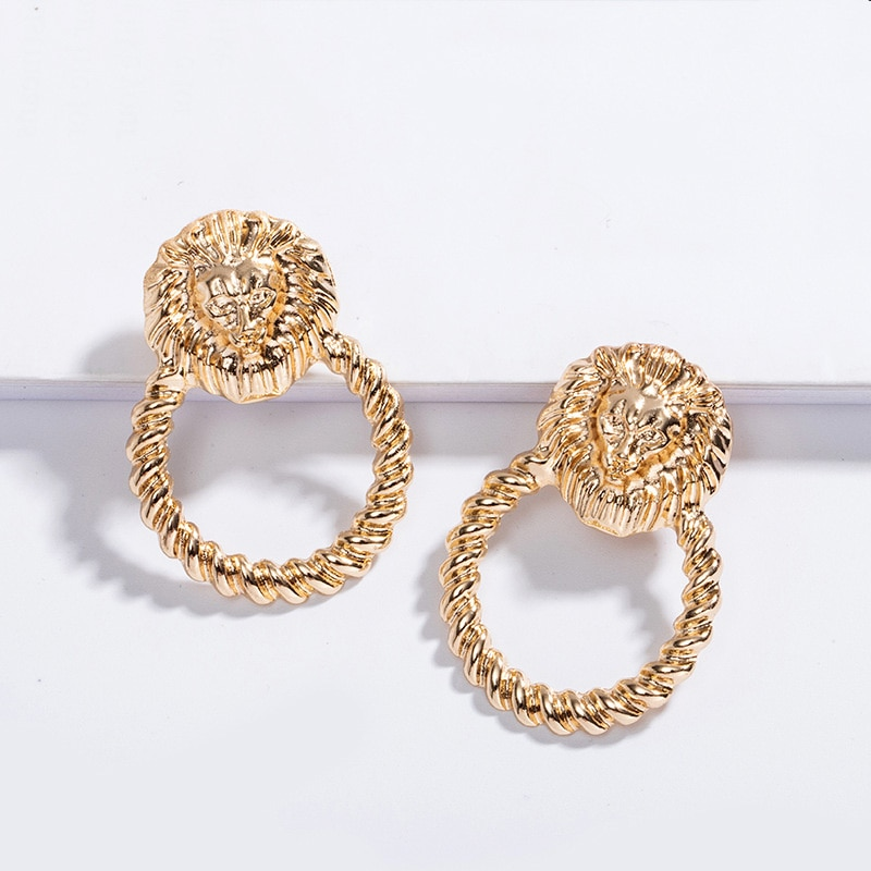 2020 pendientes de cabeza de león con forma de gota barroca, pendientes de cabeza de león para mujer, accesorios de joyería de regalo