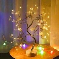 Lampe LED chaude pour arbre  feuille dor  fil de cuivre  petite lampe de Table  batterie USB  decoration universelle  pour la maison