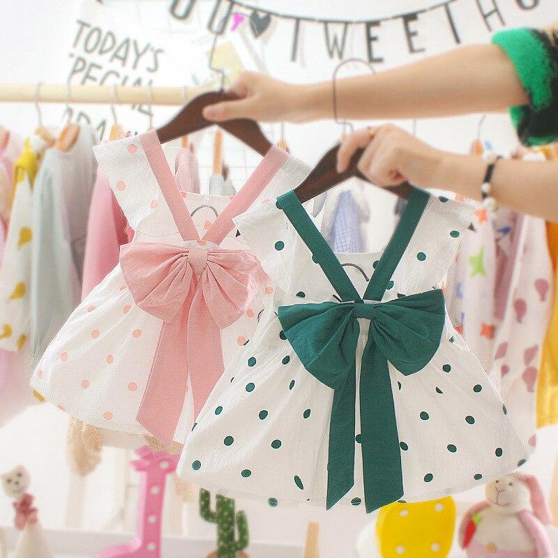 Платье с бантом для новорожденных Одежда для маленьких девочек из чистого хлопка в горошек с рукавами-крылышками платье для первого дня рождения для маленьких девочек, платье принцессы