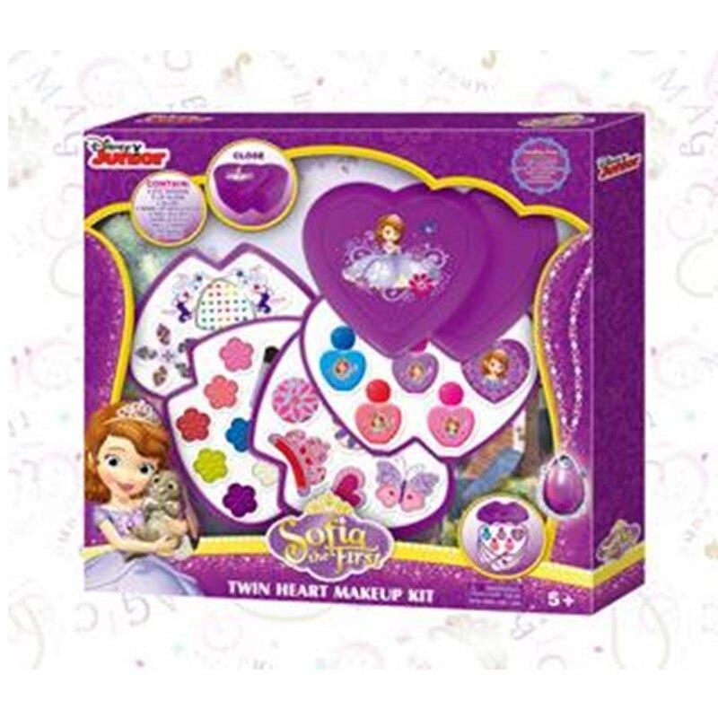 Disney crianças cosméticos brinquedo princesa maquiagem caixa sophia coração para coração beleza maquiagem caixa não-tóxico batom menina fingir jogar