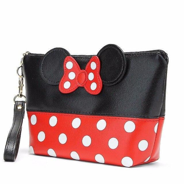 Mickey Bow Fashion Cosmetic Bag PU Leather Ladies Portable Zipper Storage Bag Large Capacity Beauty Kit Travel Storage Bag