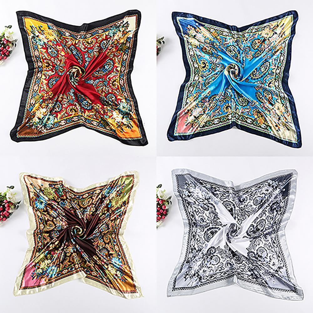 70% Hot Sell Square Scarf Flower Design Best Gift Polyester Flower Printing Square Scarf for Outdoor