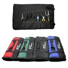 Car Hardware  Canvas Pocket Tool Roll Plier Screwdriver Spanner Case Pouch Red Bag Reels Storage Bag Case Fold Up Waterproof