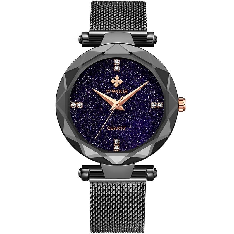Montre Femme 2021 WWOOR Brand Women Watch Mesh Strap Luxury Diamond Small Quartz Watch Simple Fashion Waterproof Ladies Bracelet enlarge