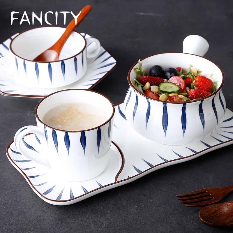 FANCITY اليابانية نمط ضوء الفاخرة الإفطار وعاء بمقبض لشخص واحد أدوات المائدة كومبو مجموعة الإفطار كوب الإبداعية الشمال