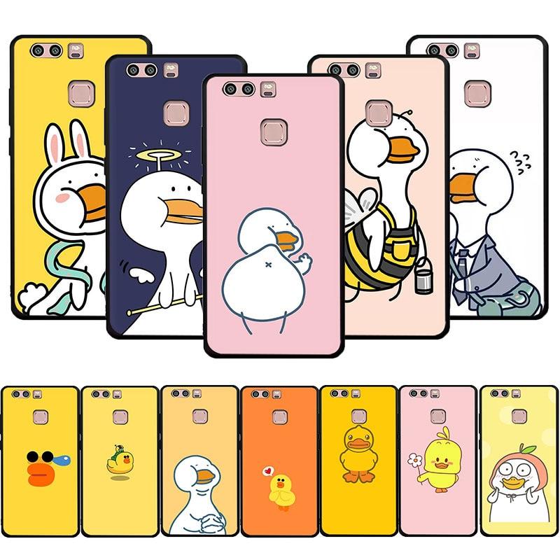 EWAU cartoon yellow duck Soft Silicone phone case for Huawei P8 P9 P10 P20 P30 P40 Lite Pro P Smart Z plus