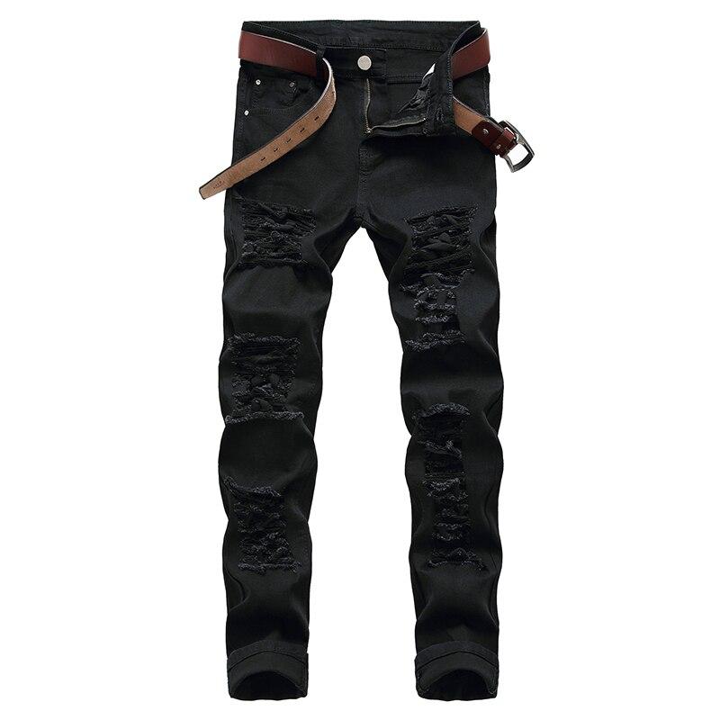 Pantalones vaqueros con agujeros para hombre de Vaqueros blancos de marca de...