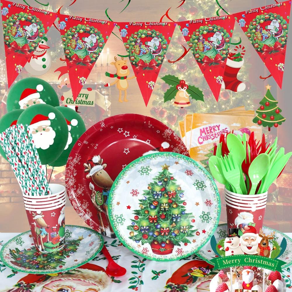 Рождественская тема, Санта-Клаус, лось, товары для вечеринок, одноразовая посуда, тарелка для чашки, флаг, Топпер, оберточный шар, новогодний ...