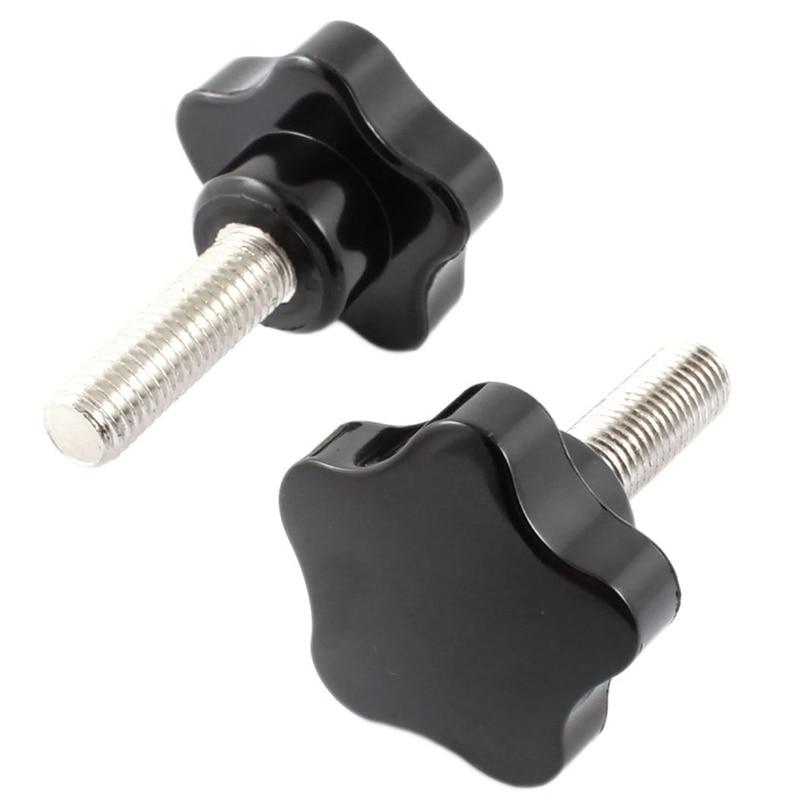 2 Pcs M12 x 40mm Thread Plastic Star Head Clamping Screw Knob Black