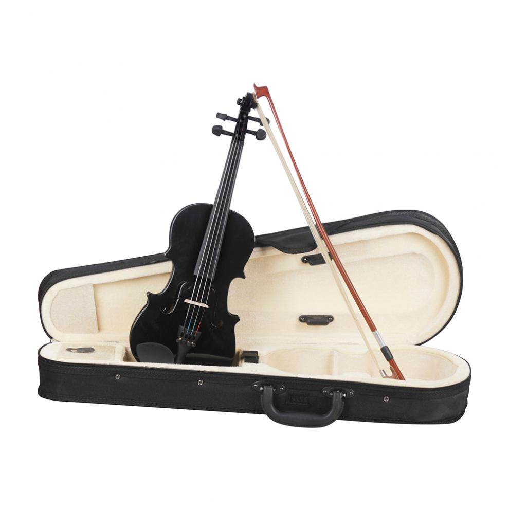 Violin Full Size 4/4 Solid Wood Silent Electric Violin Maple Body Ebony Fingerboard Pegs with Case & Bow Stringed Instruments enlarge