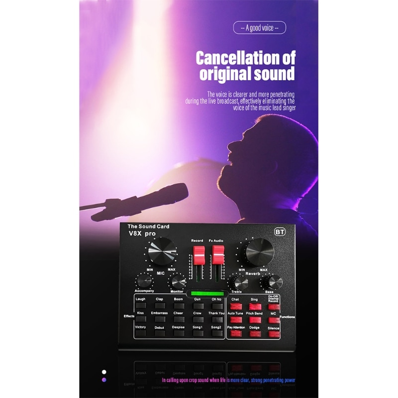 P82F V8X برو USB خارجي كارت الصوت ميكروفون سماعة الرأس البث التلفزيوني الترفيه غاسل البث المباشر
