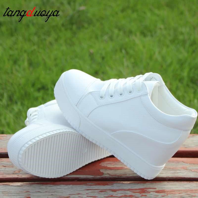 Zapatillas de cuña para mujer, calzado informal con taco de cuña oculto blanco, zapatos de plataforma para mujer, zapatillas de tacón alto para caminar al aire libre, zapatillas para mujer 2020